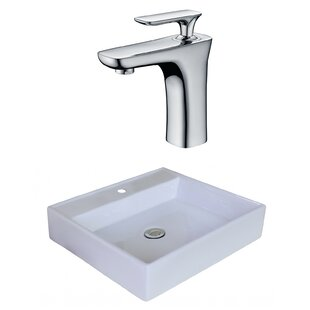 Inexpensive Ceramic Square Vessel Bathroom Sink with Faucet ByRoyal Purple Bath Kitchen