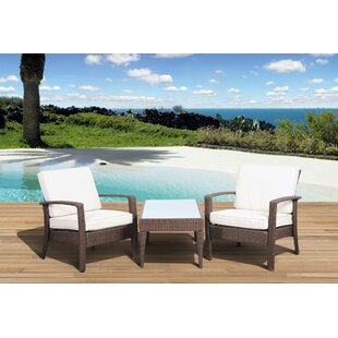 Hazle 3 Piece Conversation Set with Cushions by Beachcrest Home