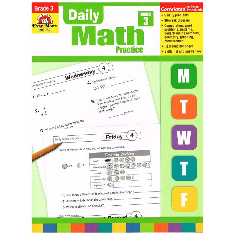 Evan-Moor Daily Math Practice Grade 3 Book Wayfair