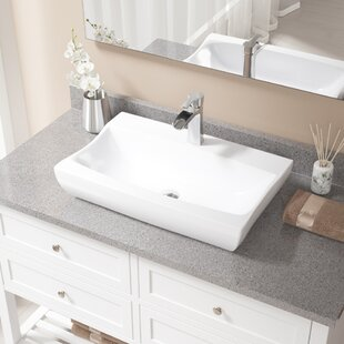 Read Reviews Vitreous China Rectangular Vessel Bathroom Sink with Faucet ByMR Direct