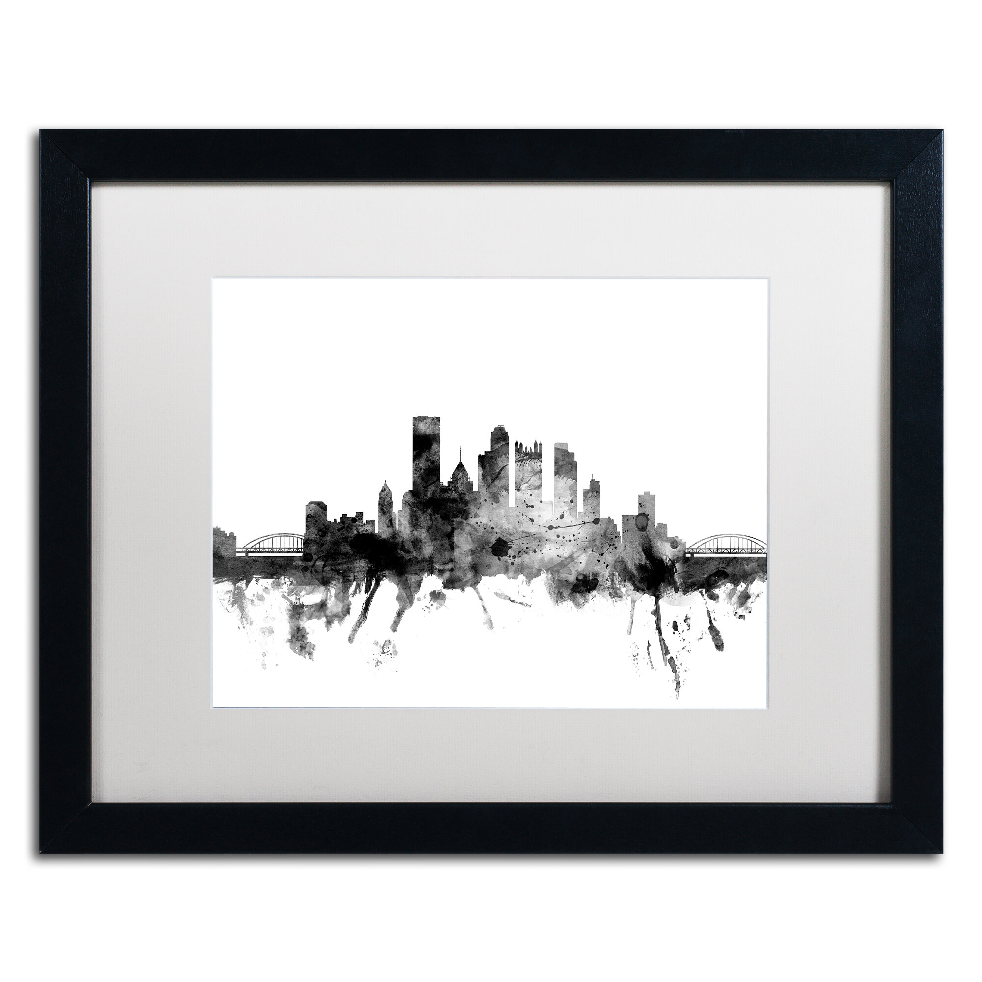 Trademark Art Pittsburgh Pa Skyline B W Framed Graphic Art On Canvas Wayfair