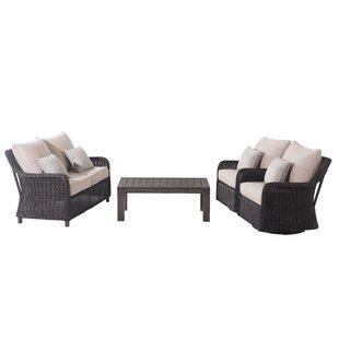 Red Barrel Studio Macri 4 Piece Rattan Sofa Seating Group with Cushions (Set of 4)