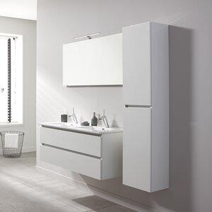 Belfry Bathroom Wandmontierter Waschtisch Stef für Doppelbecken Set mit Spiegel und Aufbewahrungsschrank