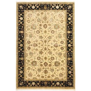 One-of-a-Kind Harrir Select Hand-Knotted Cream Area Rug