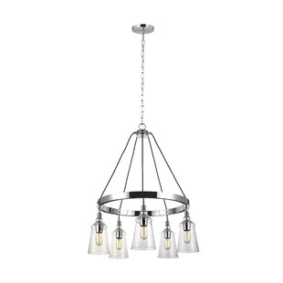 Gracie Oaks Sharwari 5-Light Wagon Wheel Chandelier