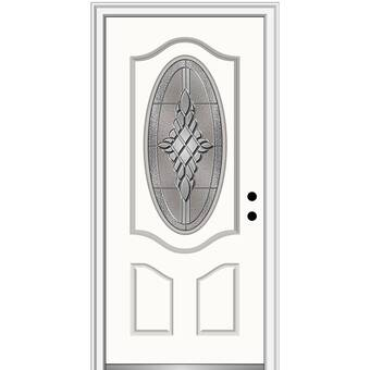 Verona Home Design Grace Painted Both Sides Different Small Oval 2 Panel Deluxe Fiberglass Prehung Front Entry Door On 6 9 16 Frame Wayfair