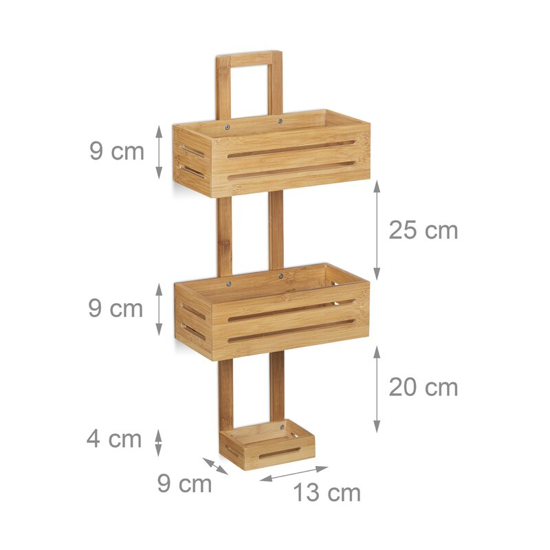 Relaxdays Bamboo Wall Mounted Shower Caddy & Reviews | Wayfair.co.uk