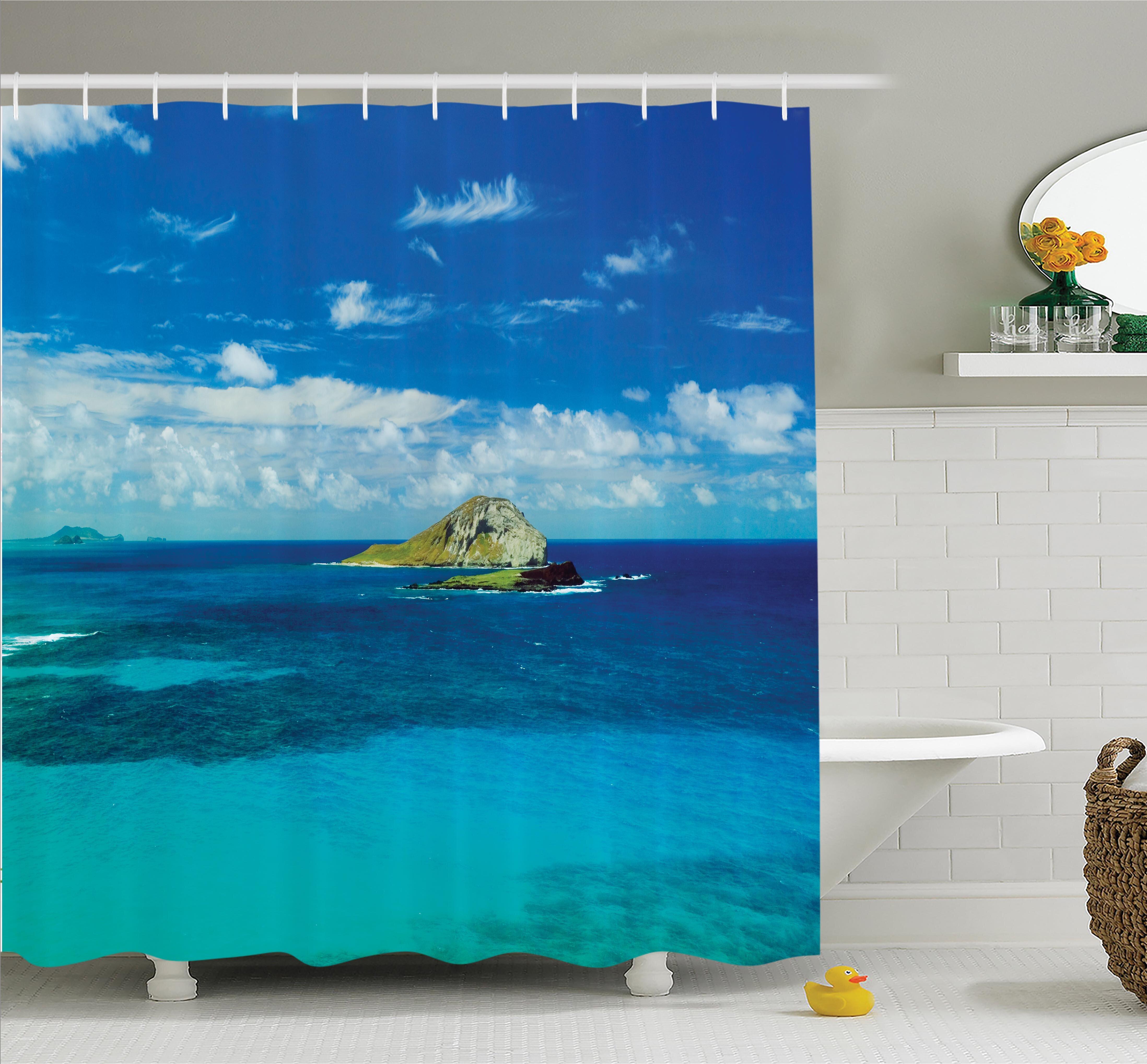 Ambesonne Tropical Hawaiian Island Beach Shower Curtain Set
