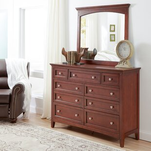Three Posts Summerville 9 Drawer Double Dresser with Mirror