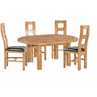 Carbajal 5 Piece Extendable Solid Wood Dining Set ByLoon Peak