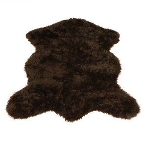 Animal Pelt Faux Sheepskin Brown Area Rug