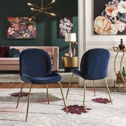 Guillemette Velvet Side Chair Blue