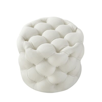 House of Hampton Mucha Tufted Cube Ottoman Upholstery Material/Body Fabric: Linen, Upholstery Color: Cream White
