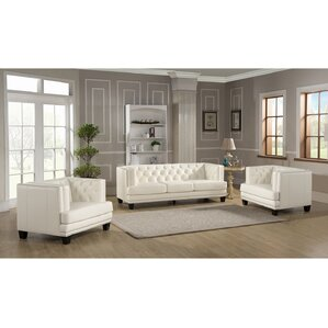 Newport 3 Piece Leather Living Room Set by Amax