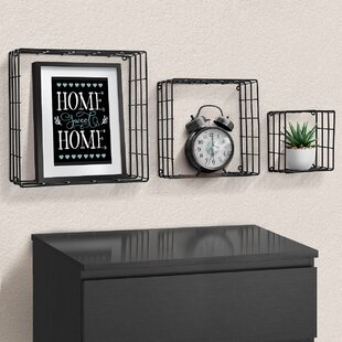 Mowry Metal Square 3 Piece Floating Shelf Set