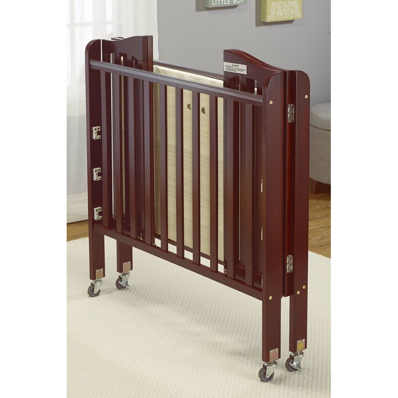Big Oshi Angela Folding Portable Crib With Mattress