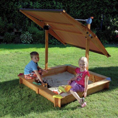 Quadratischer Sandkasten 140 cm x 140 cm | Kinderzimmer > Spielzeuge > Sandkästen | Gelb | Massivholz | Home Loft Concept