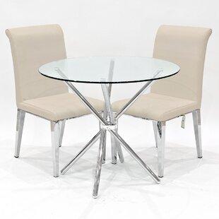 Desborough Circular Glass Dining Set With 2 Chairs By Metro Lane