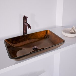 Fusion Glass Rectangular Vessel Bathroom Sink with Faucet