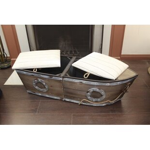 Longshore Tides Bublitz Boat Wood Storage Bench (Set of 2)