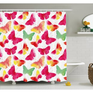 Watercolor Butterflies with Large Colored Wings Spirit Shower Curtain Set