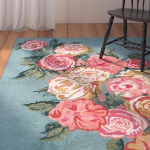 jeanlouis handhooked light bluepink area rug