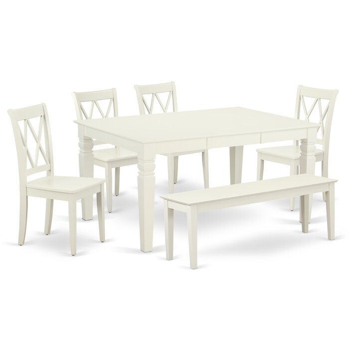 Fantastic Kulas 6 Piece Extendable Solid Wood Breakfast Nook Dining Set Bralicious Painted Fabric Chair Ideas Braliciousco