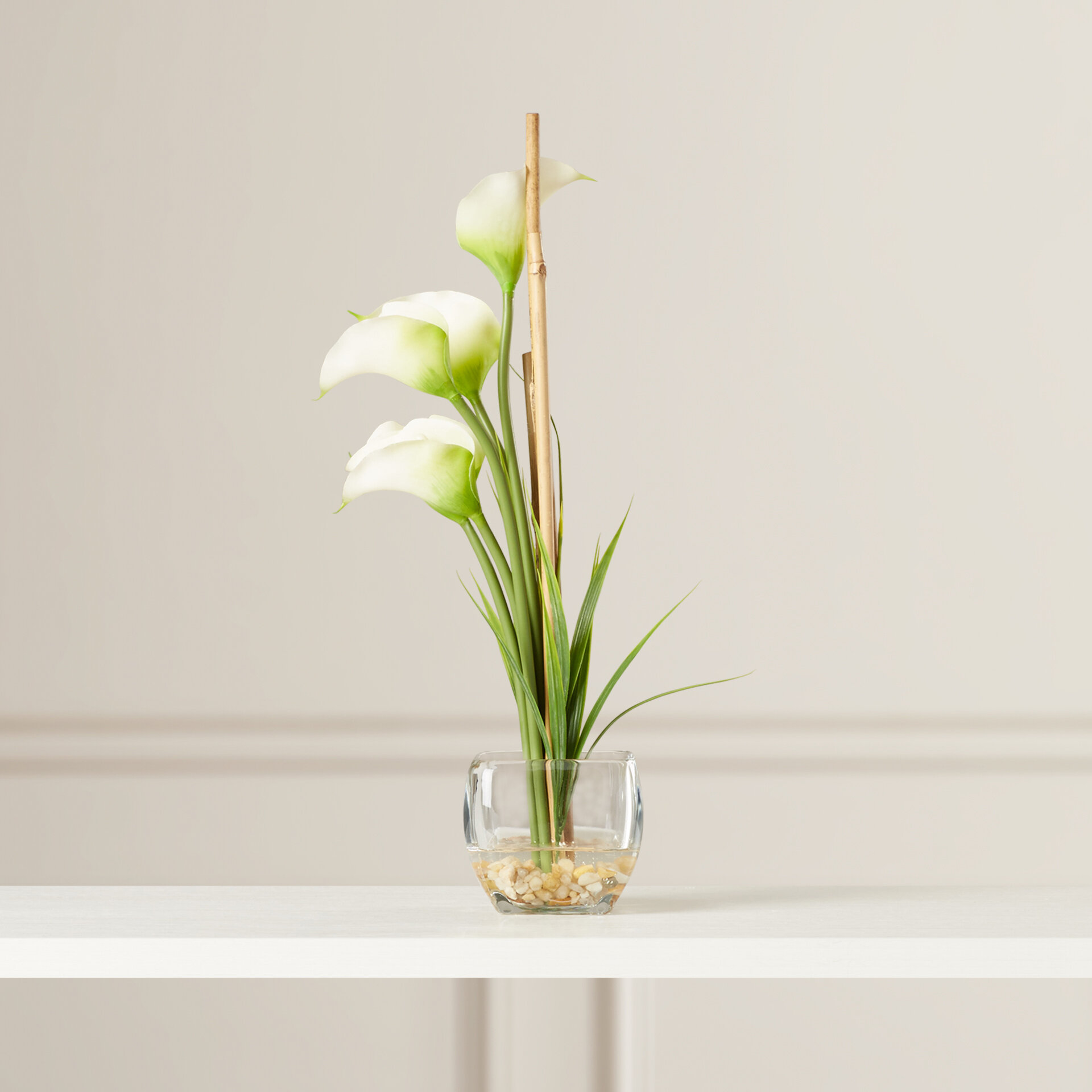 Willa Arlo Interiors Silk Calla Lily With Vase Reviews Wayfair
