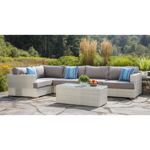 Mykonos 6 Piece Rattan Sectional Seating Group with Cushions
