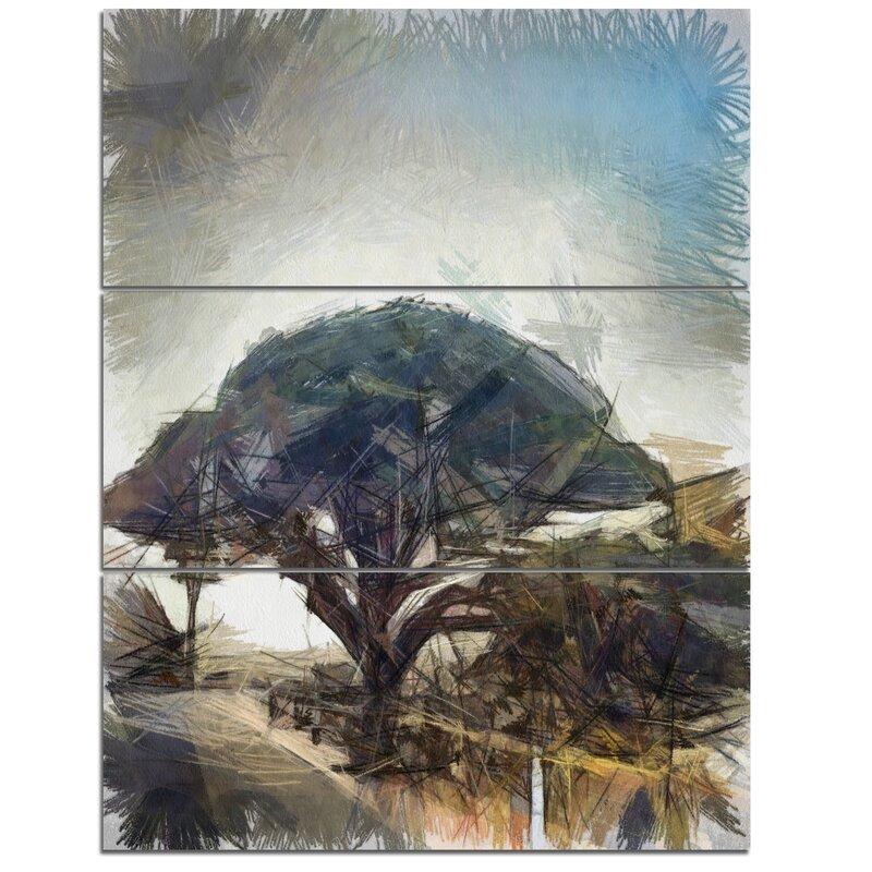 DesignArt \'Lonely Oak Tree Watercolor Sketch\' 3 Piece Wall Art on ...