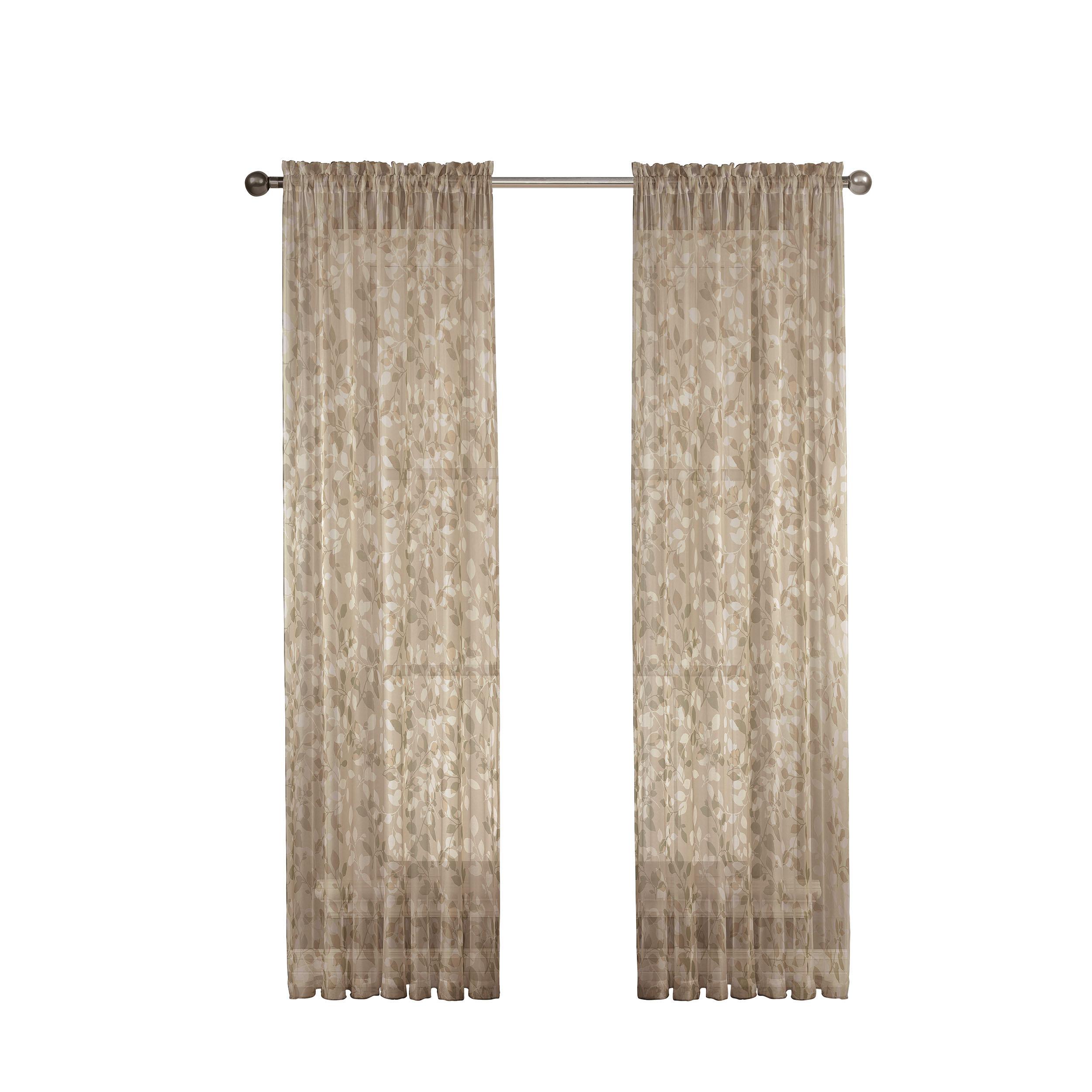 Window Elements Pinehurst Naturefloral Sheer Rod Pocket Single Curtain Panel