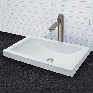 Breanna Classically Redefined Ceramic Rectangular Vessel Bathroom Sink with Overflow DECOLAV