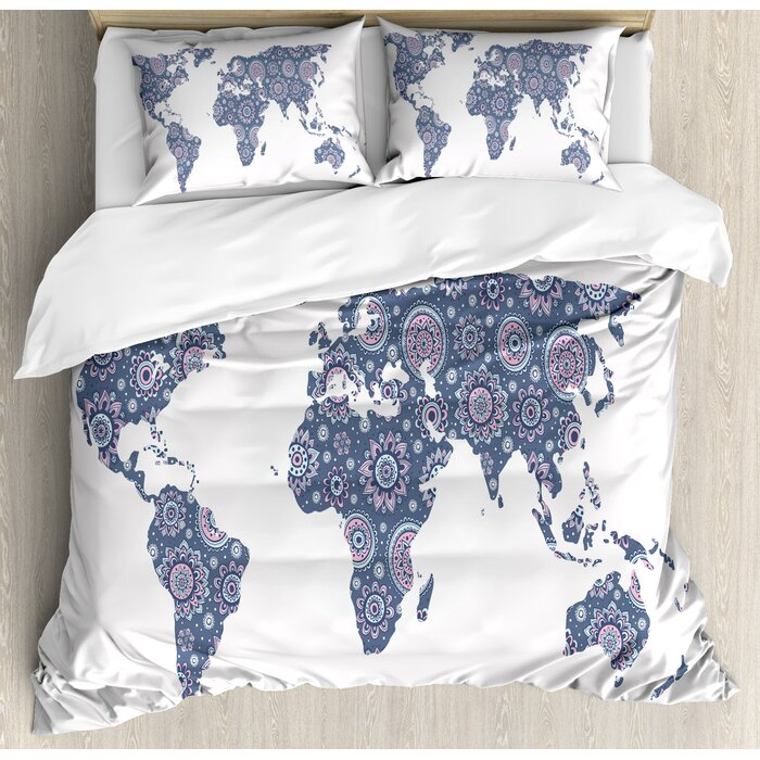 Indian Ethnic Oriental Featured World Map with Arabesque Effect Artwork  Print Duvet Cover Set