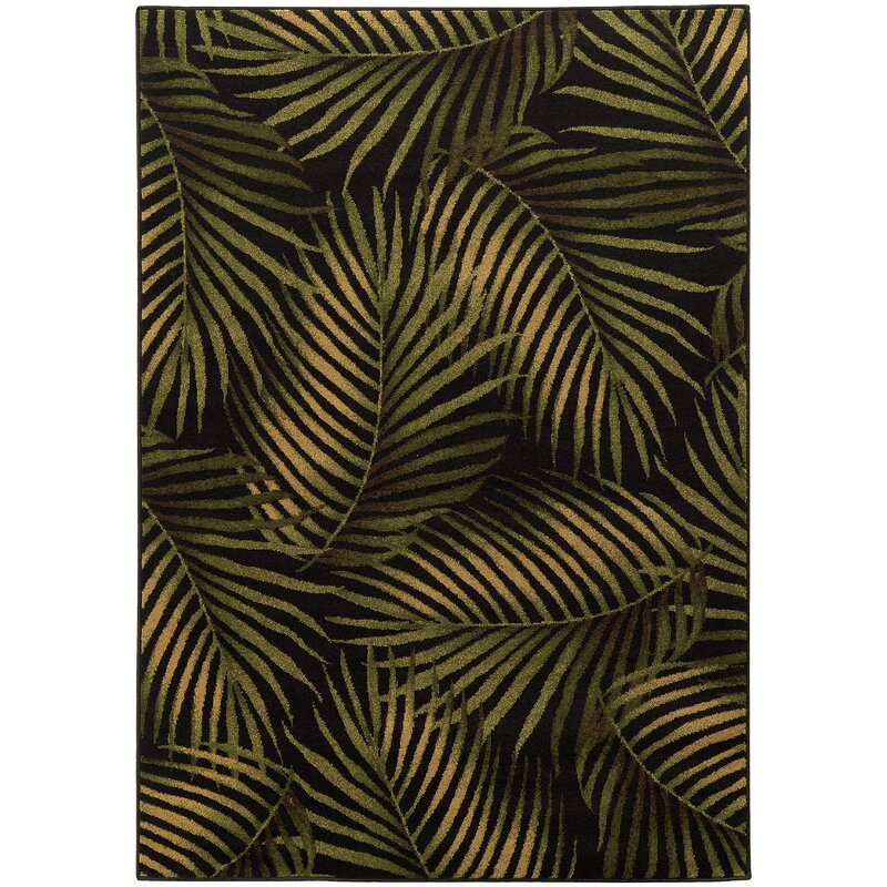 Black And Green Area Rugs tommy bahama home villa black/green area rug & reviews | wayfair