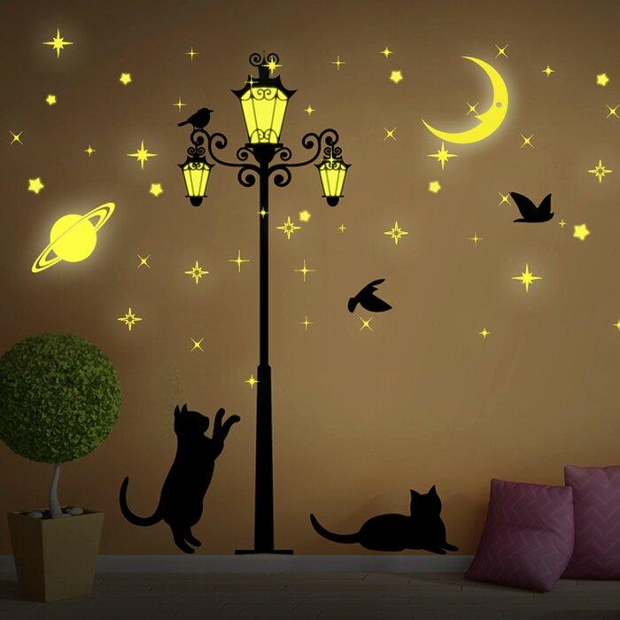Moon And Stars Glow In Dark Street Light Wall Decal