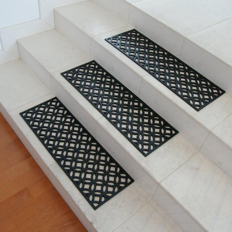 Azteca Indoor Outdoor Stair Tread Rubber Step Mat Set