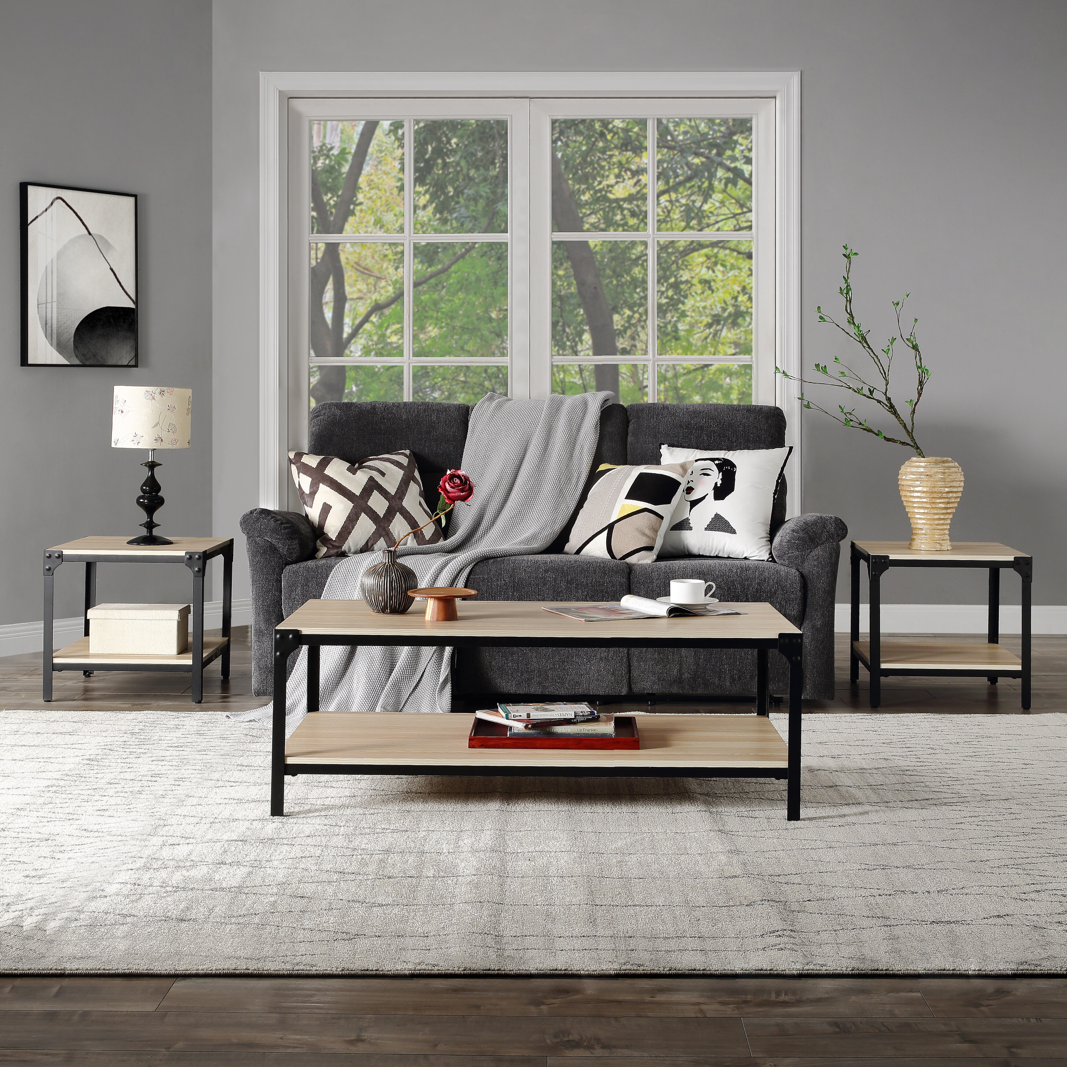 Belsize 11 Piece Coffee & End Table Set Wood Modern Living Room Furniture  Decor