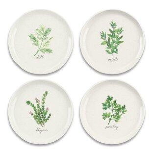 Garden 4 Piece Melamine Salad Or Dessert Plate Set (Set Of 4) By Tar Hong