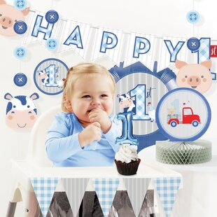 Farmhouse Boy 1st Birthday Paper/Plastic Disposable Decorations Kit