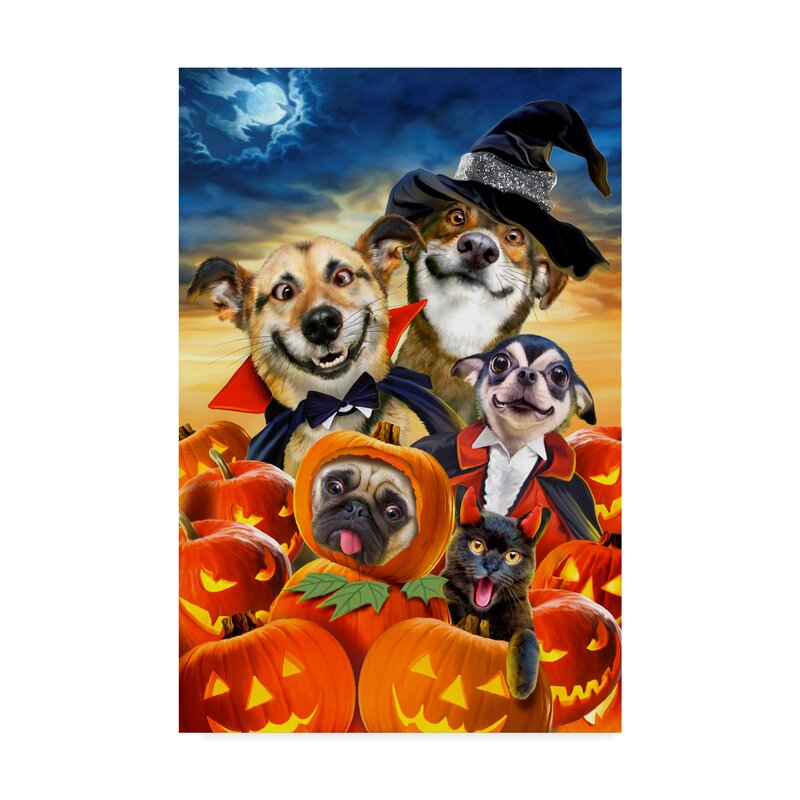 Trademark Art Spooky Puppies Acrylic Painting Print On Wrapped