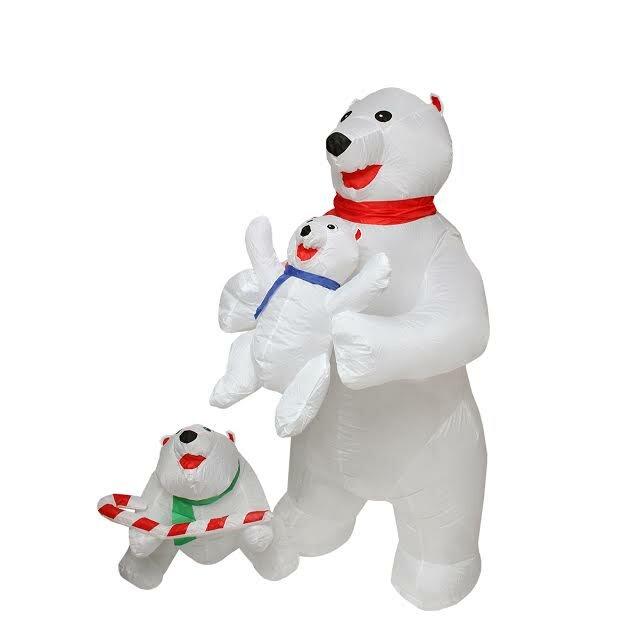 Inflatable Cute Polar Bear Family Lighted Christmas Yard Art Decoration