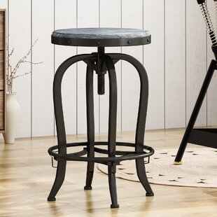 Halma Adjustable Height Swivel Bar Stool Williston Forge