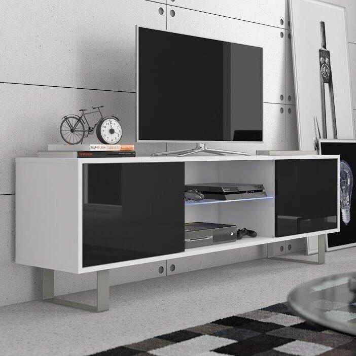 TV-Lowboard MASH in mattweiß/hochglanzschwarz