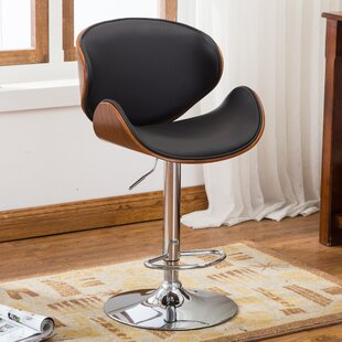 Bentwood Leather Adjustable Height Swivel Bar Stool by Famis Corp