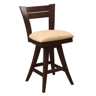 Ines Swivel Wood Frame Bar Stool Red Barrel Studio