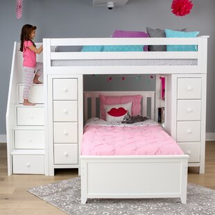 Ayres Twin LShaped Bunk Bed with Drawers and Shelves