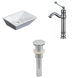 Inexpensive Ceramic Rectangular Vessel Bathroom Sink with Faucet By Royal Purple Bath Kitchen