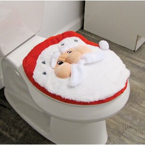 Santa Joyful Topper And Rug Toilet Seat Cover By The Holiday Aisle