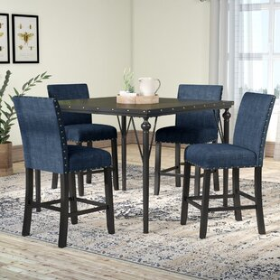 Greyleigh Haysi Wood Counter Height 5 Piece Dining Set with Fabric Nailhead Chairs