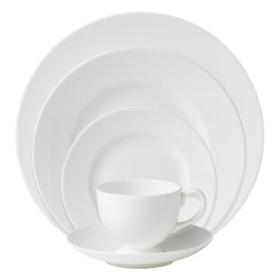 White Bone China 5 Piece Place Setting, Service for 1